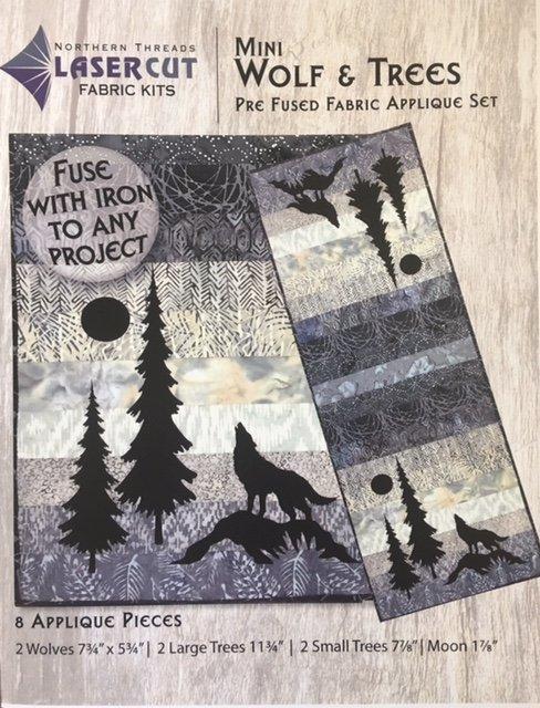 NTWOLF Northern Threads Applique Runner Kit Wolf & Trees 18 x 42