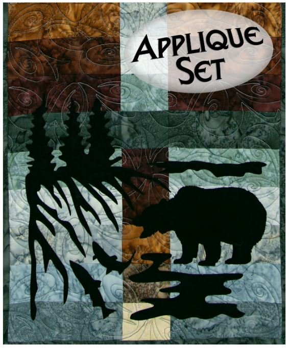 NTWOODLANDBEAR Northern Threads Wildwood Applique Runner Kit Bear, Trees, Fish, and Water