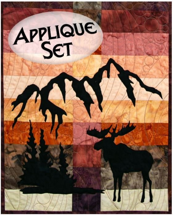 NTWOODLANDMOS Northern Threads Wildwood Applique Runner Kit Moose, Trees, and Mountains