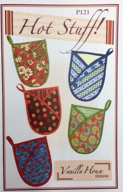 P121 Vanilla House Designs Hot Stuff! Oven Mitts