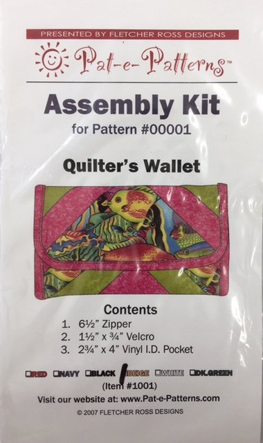 PEP1001BK, Pat-e-Patterns Quilters Wallet Assembly Kit Black