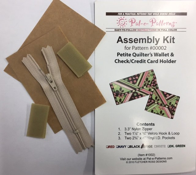 PEP1002BG Pat-e-Patterns Petite Quilters Wallet & Checkbook Cover Assembly Kit-Beige