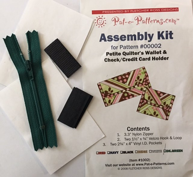 PEP1002DG Pat-e-Patterns Petite Quilters Wallet & Checkbook Cover Assembly Kit-Dk Green