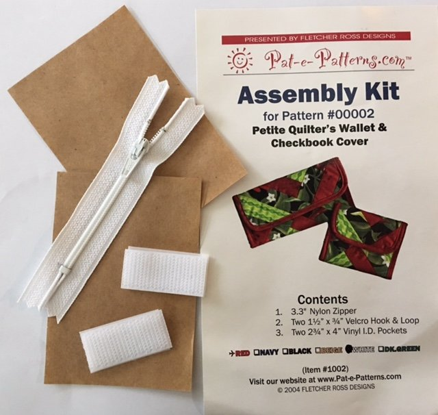 PEP1002W Pat-e-Patterns Petite Quilters Wallet & Checkbook Cover Assembly Kit-White
