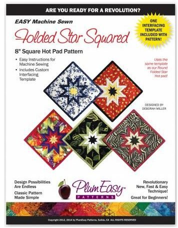 PEP-102 Plum Easy Folded Star Hot Pad Pattern 8 Square