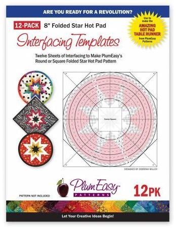 PEP-202 Plum Easy 12 Pack Folded Star Hot Pad Templates 8 Square or Round