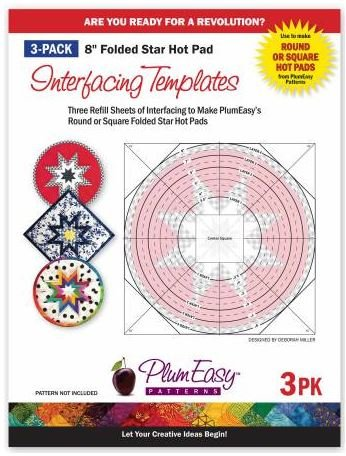 PEP-201 Plum Easy 3 Pack Folded Star Hot Pad Templates 8 Square or Round