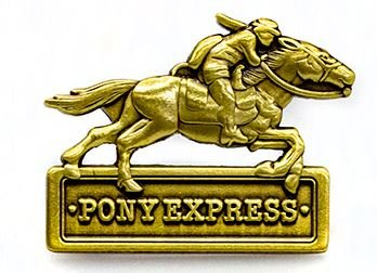 PEPIN-17, Northcott, Pony Express, Pin, measures 1-1/4 wide by 1 tall