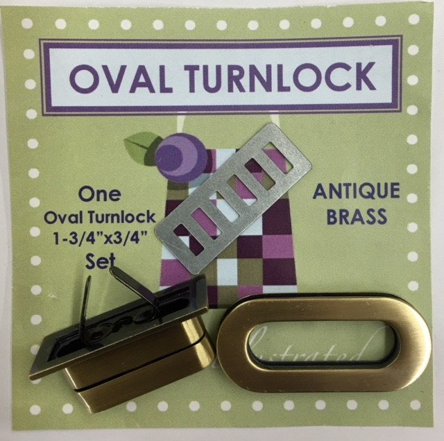 PSH005 Quilts Illustrated Oval Turnlock Purse & Wallet Closure Antique Brass