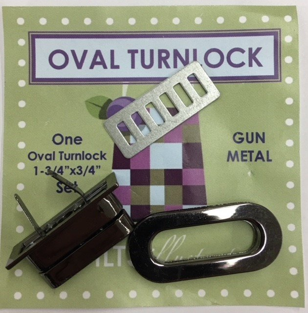 PSH006 Quilts Illustrated Oval Turnlock Purse & Wallet Closure Gun Metal