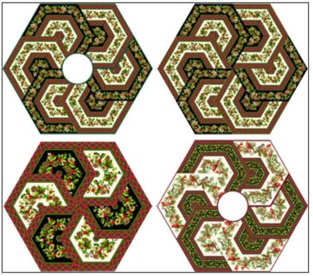 AED159 Triangle Frenzy Hex Tree Skirt & Table Topper