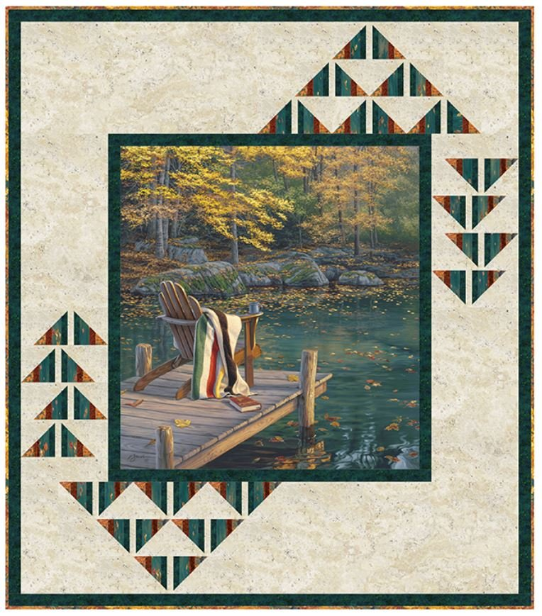 PTN2515 Pine Tree Country Quilts, Peaceful Retreat, 58 x 63