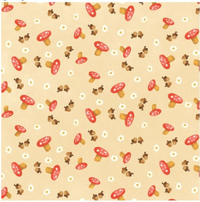 Q2164-44 Henry Glass Hugs and Love Mushrooms with tan Background
