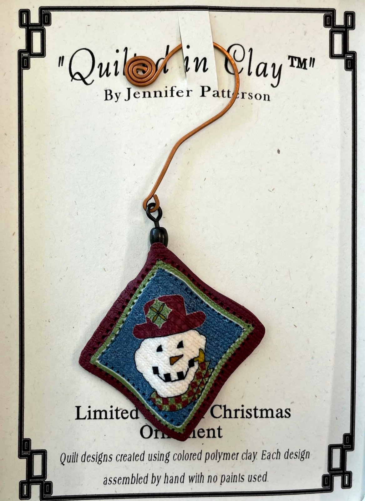 QICORNAMENT Quilted in Clay Snowman Ornament