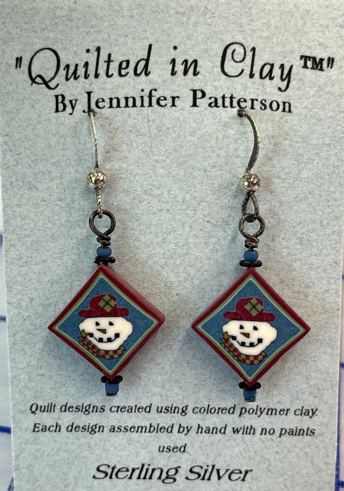 QICSSDRPEAR Quilted in Clay Sterling Silver Drop Earrings