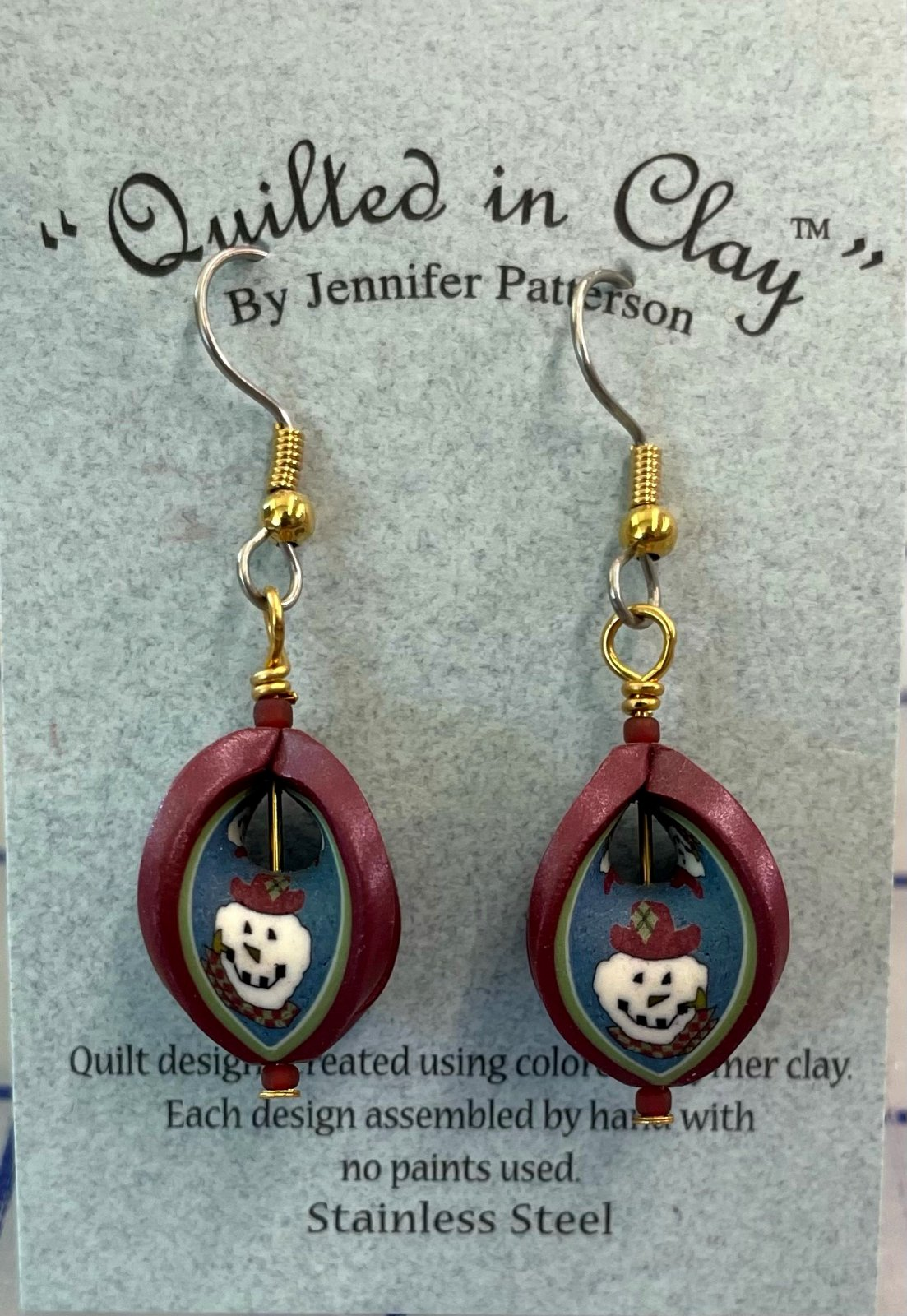 QICSSDRPSMEAR Quilted in Clay Sterling Silver Drop Snowman Earrings