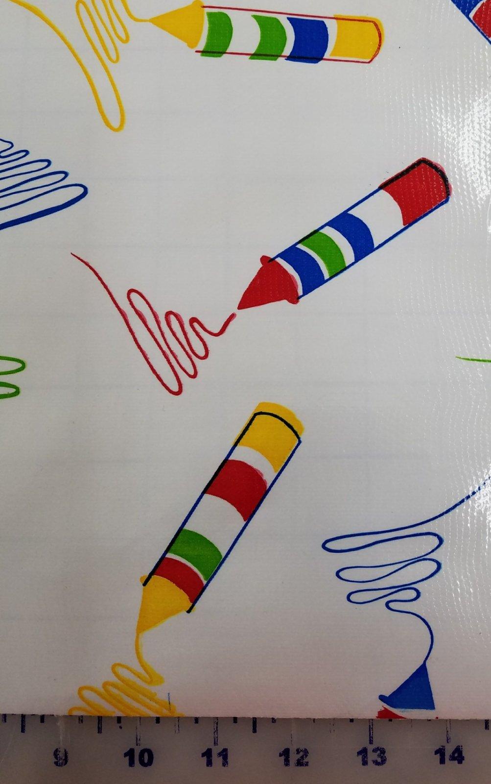R600 Oilcloth 48 wide Primary Crayon
