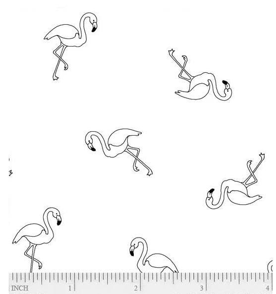 RAMF-4079 Ramblings Fun White-on-White Flamingo's