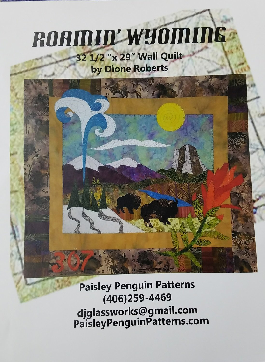 Roamin' Wyoming Dione Roberts Applique Wall Quilt 32 1/2 x 29