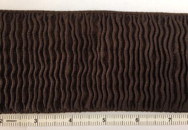 RUFFELASTICROUG Ruffle 3 Wide Brown Couched  Elastic