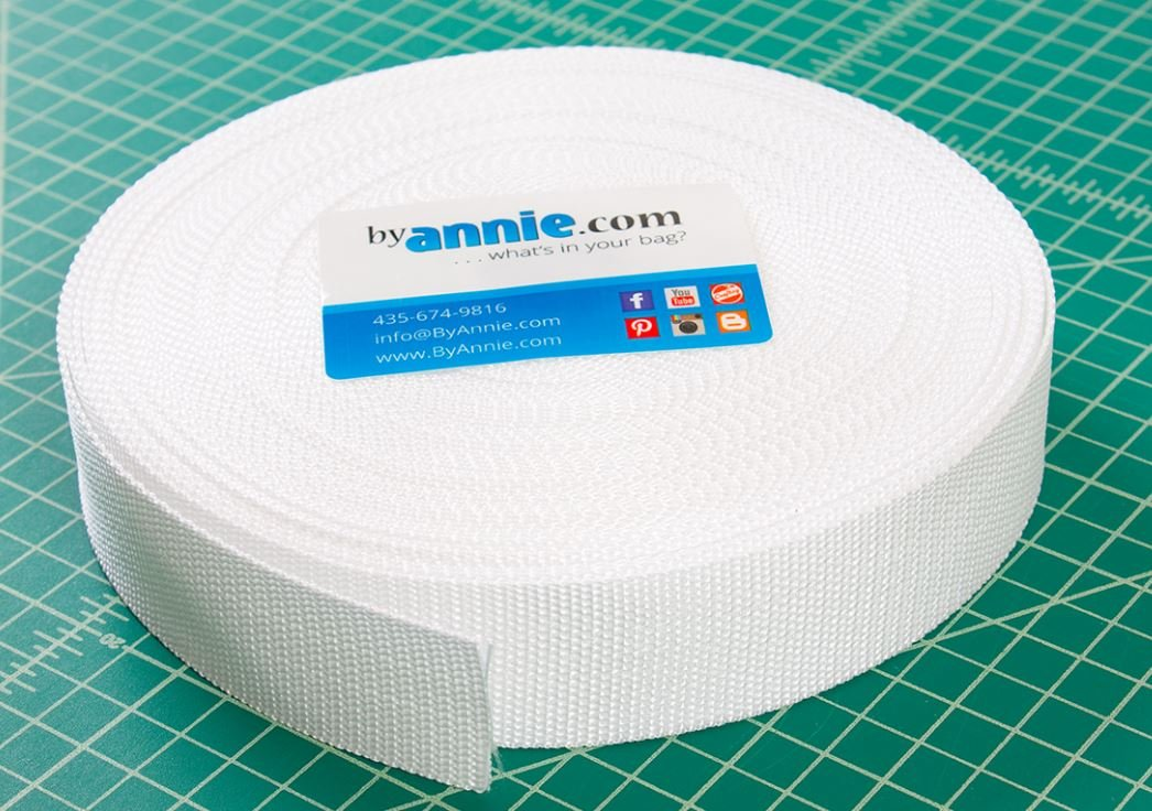 SUP164-1.5WHT, By Annie, polypro strapping, White webbing