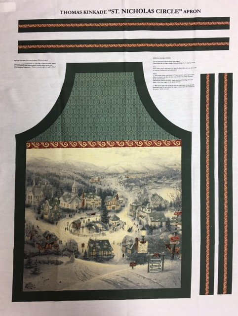 TKAPRON David Textiles Thomas Kincaid Christmas Apron Panel