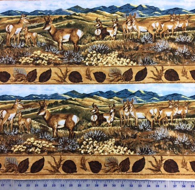 TRO1523 Troy Lone Prairie by Katherine Gardner Blue Antelope Border Print