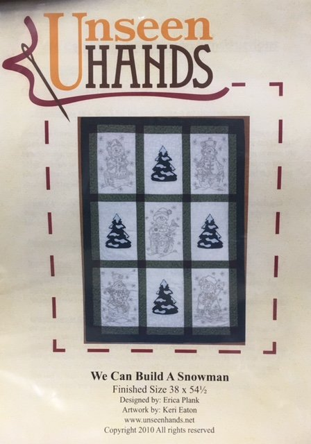 UH1014 Unseen Hands We Can Build a Snowman 38 x 54.5 Embroidery Quilt Pattern