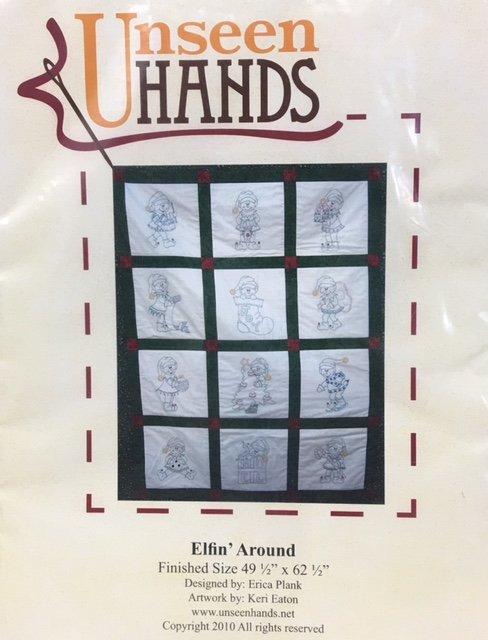 UH1021 Unseen Hands Elfin' Around 49.5 x 62.5 Embroidery Quilt Pattern