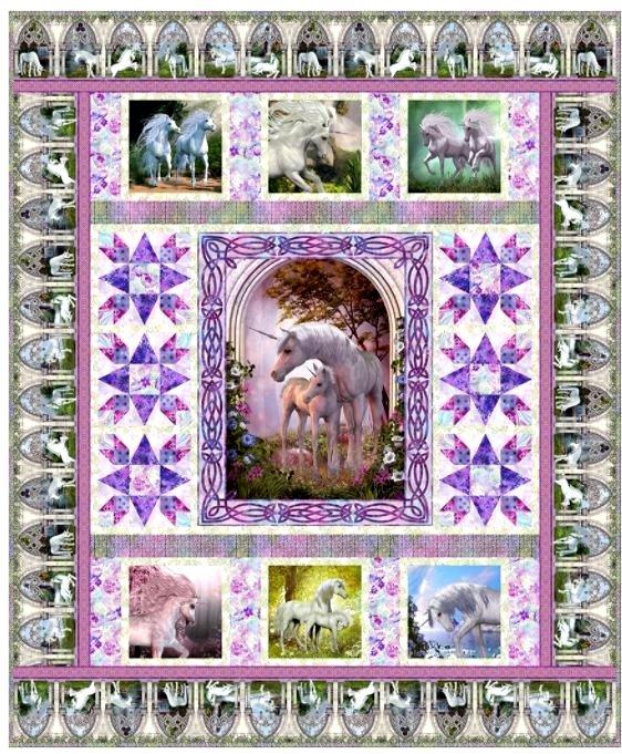 UNICORN, In the Beginning, Unicorn Quilt 77-1/2 x 93-1/2