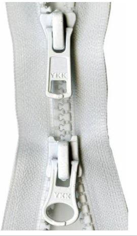 Y28-501 YKK Zipper 2-Way Separating 30 inch, White