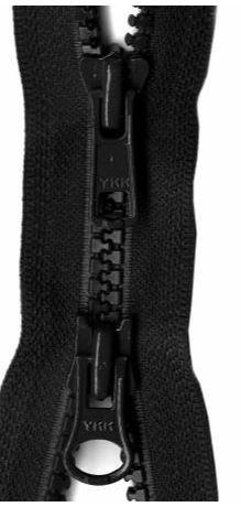 Y28-580 YKK Zipper 2-Way Separating 30 inch, Black
