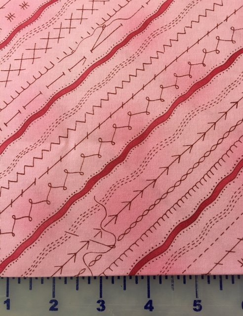 YO863-42 Clothworks Sew and Sew Pink Stripe