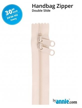 ZIP30-102 By Annie Double Slide Handbag Zipper 30 inch Ivory