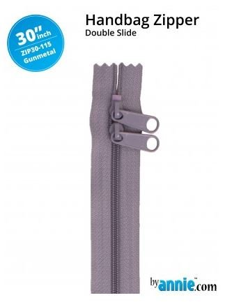 ZIP30-115 By Annie Double Slide Handbag Zipper 30 inch Gunmetal Gray