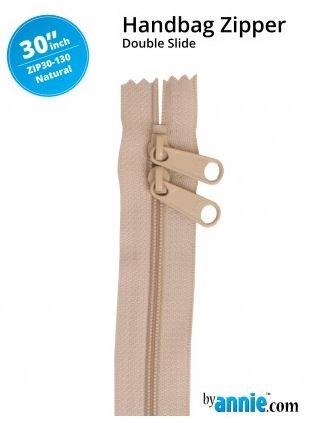ZIP30-130 By Annie Double Slide Handbag Zipper 30 inch Natural
