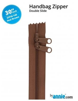 ZIP30-140 By Annie Double Slide Handbag Zipper 30 inch Seal Brown