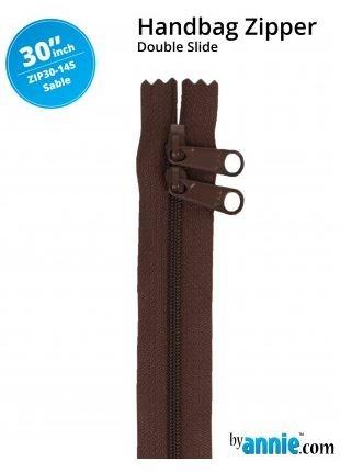 ZIP30-145 By Annie Double Slide Handbag Zipper 30 inch Sable Brown