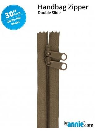 ZIP30-160 By Annie Double Slide Handbag Zipper 30 inch Khaki