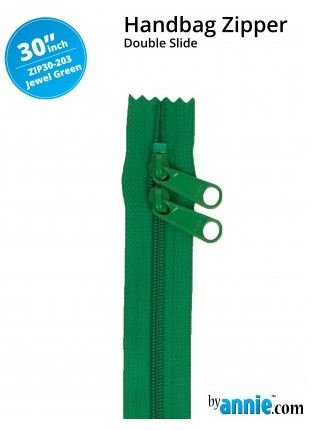 ZIP30-203 By Annie Double Slide Handbag Zipper 30 inch Jewel Green