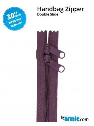 ZIP30-240 By Annie Double Slide Handbag Zipper 30 inch Eggplant