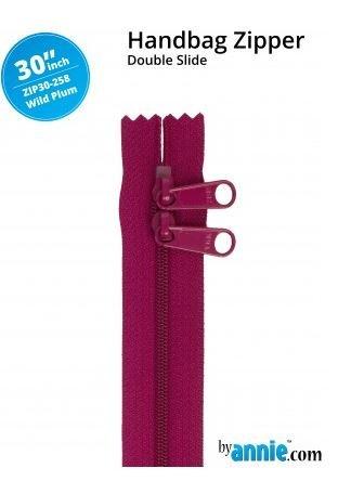 ZIP30-258 By Annie Double Slide Handbag Zipper 30 inch Wild Plum