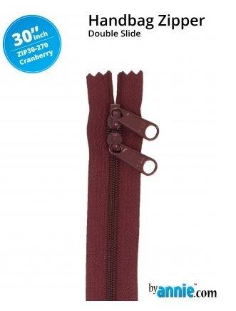 ZIP30-270 By Annie Double Slide Handbag Zipper 30 inch Cranberry