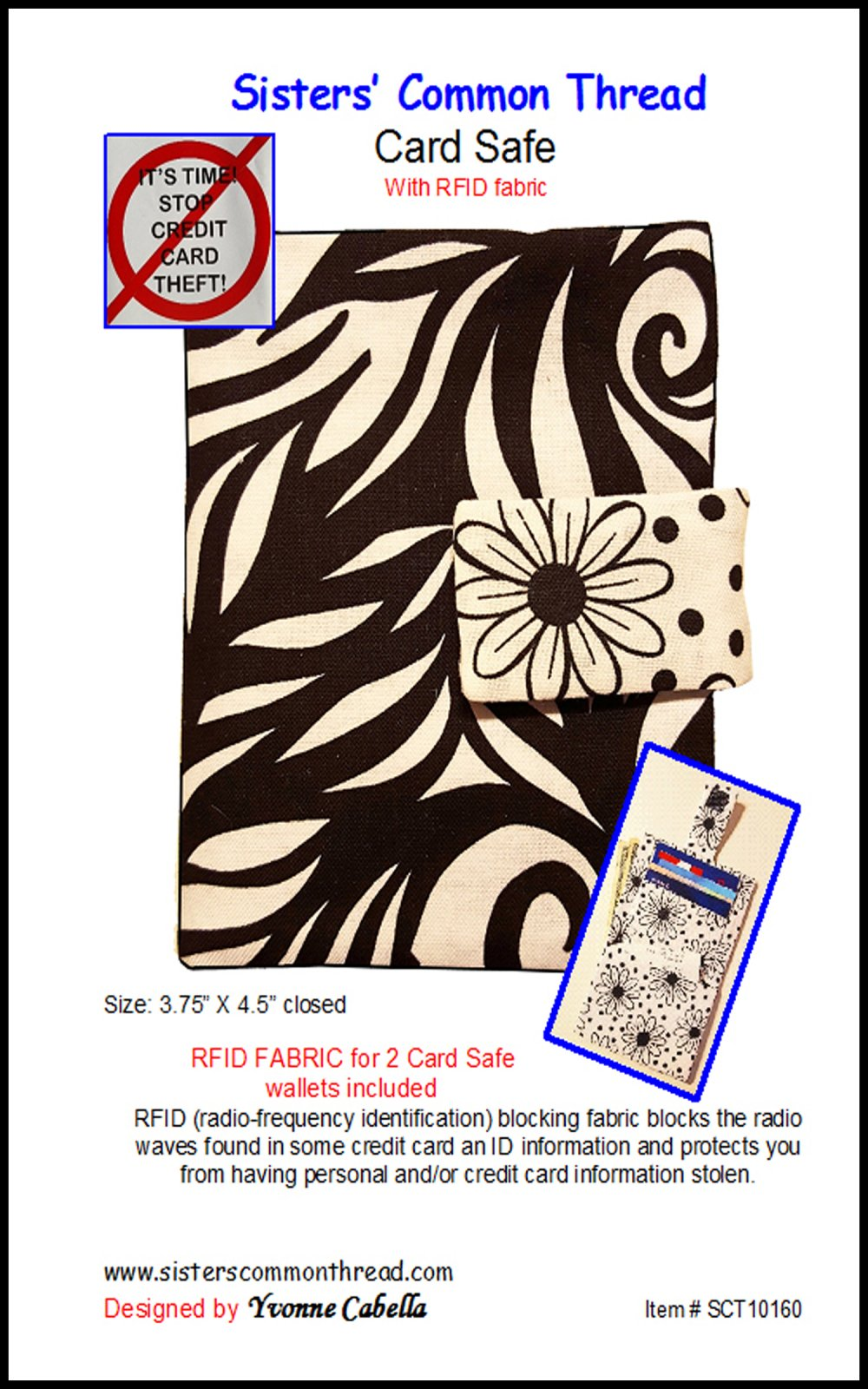 Card Safe pattern with RFID fabric included