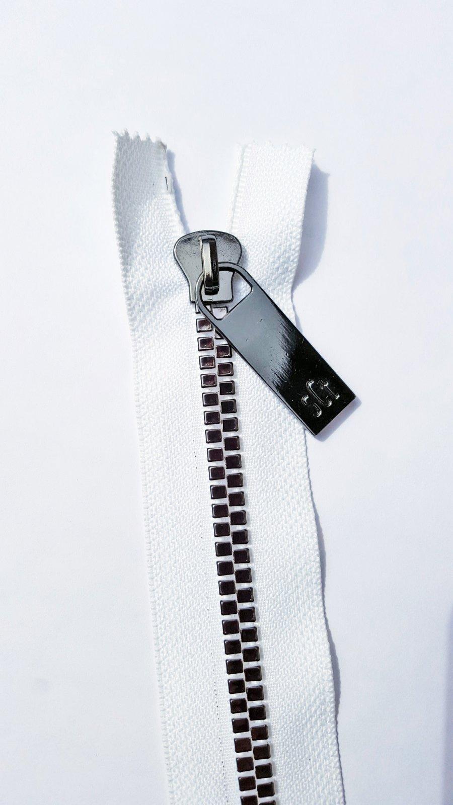 16 Pretty Zipper White Tape, Gunmetal Finish