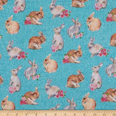 Northcott Bunny Love  Turquoise 22763-62 `