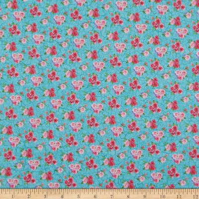 Northcott Bunny Love Roses on Turquoise 22764-62 `