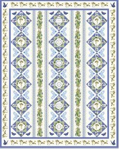 Botanical Blues Quilt Kit - includes Digitized Embroidery CD Pattern >