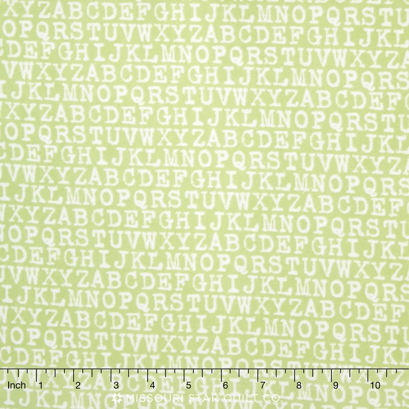 Robet Kaufman Cozy Cotton Flannel SRKF-13771-52 Alphabet Pistacho `