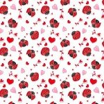 Henry Glass Love Struck Ladybugs & Hearts White/Red Fabric
